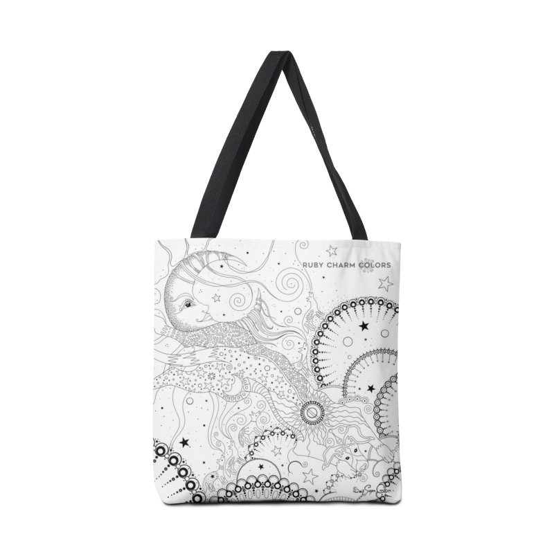 DIY Color Your Own Bo Dog and the Moon Spiral Notebook and Tote Bag in Tote Bag by Ruby Charm Colors Artist Shop