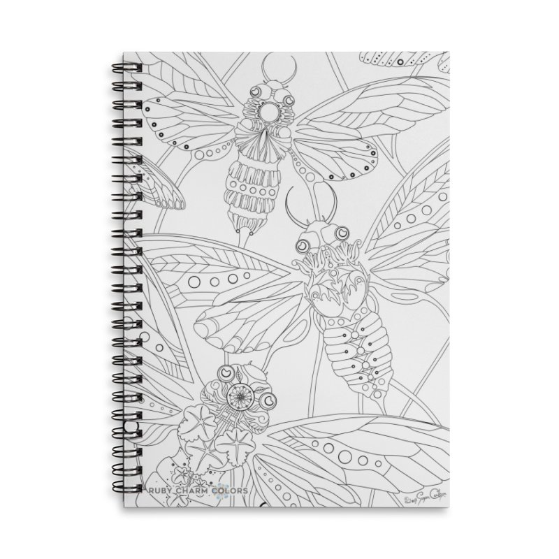DIY Color Your Own Cicadas Spiral Notebook and Tote Bag in Lined Spiral Notebook by Ruby Charm Colors Artist Shop