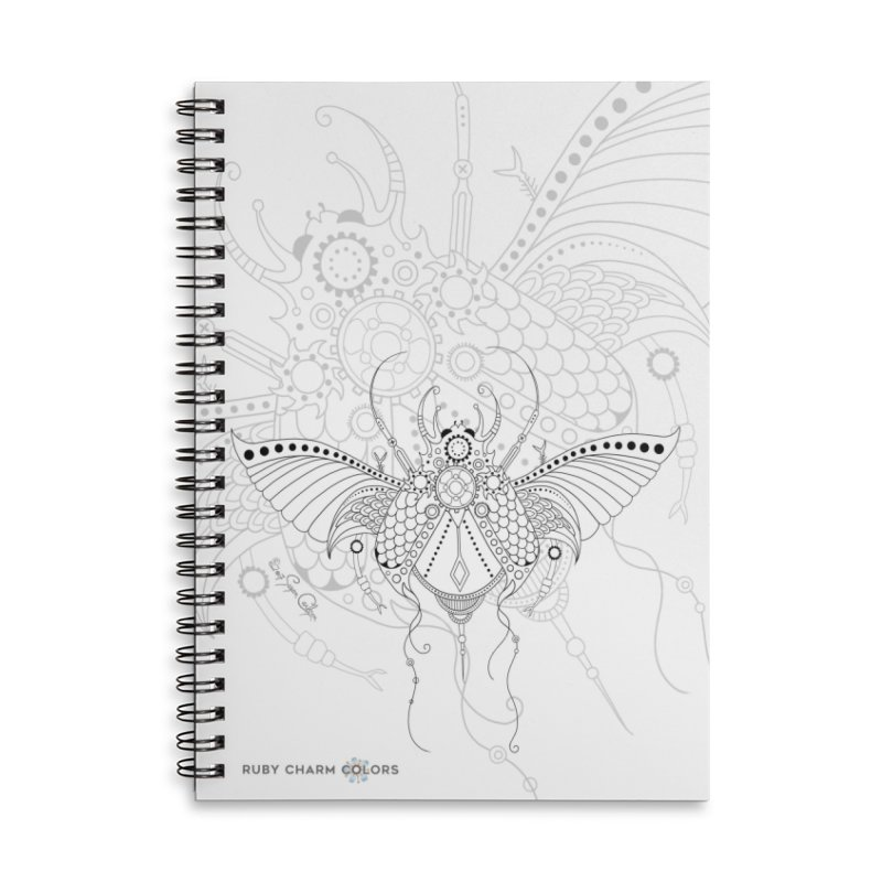 DIY Color Your Own Beetle Spiral Notebook and Tote Bag in Lined Spiral Notebook by Ruby Charm Colors Artist Shop