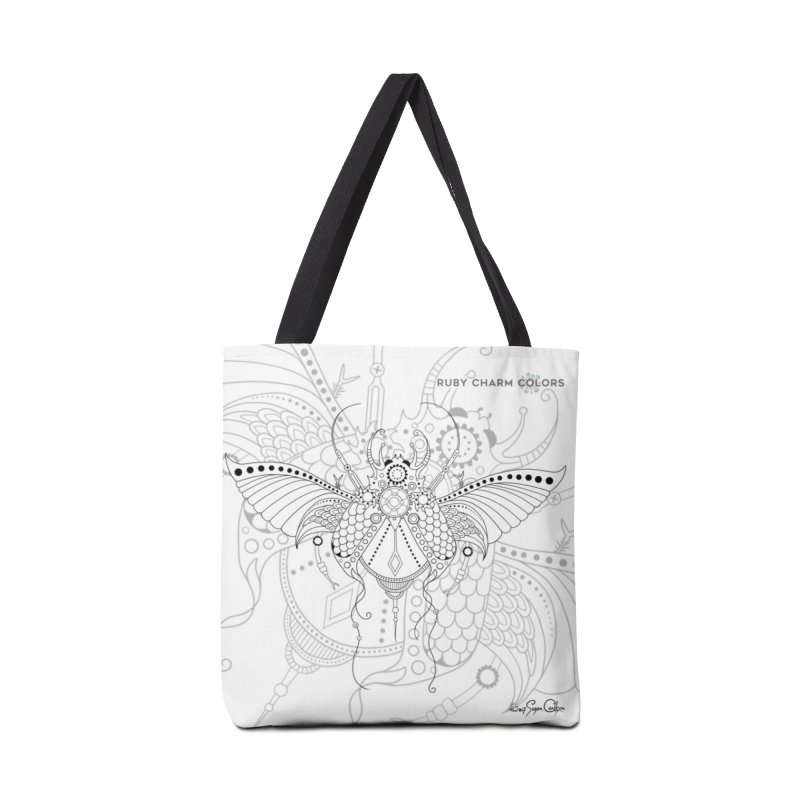 DIY Color Your Own Beetle Spiral Notebook and Tote Bag in Tote Bag by Ruby Charm Colors Artist Shop