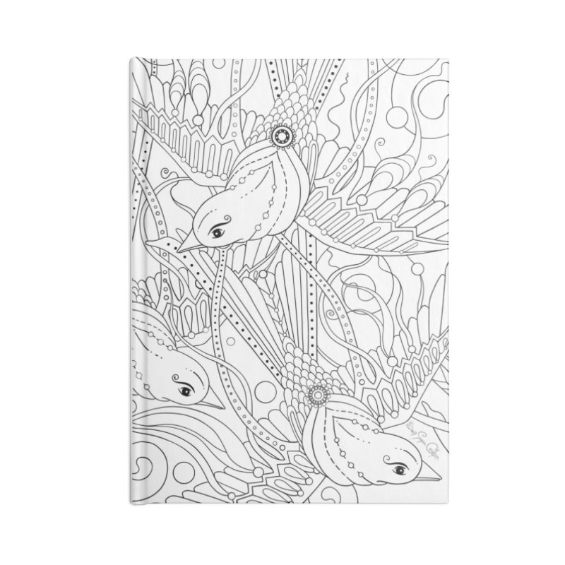 DIY Color Your Own Three Birds Spiral Notebook and Tote Bag Accessories Blank Journal Notebook by Ruby Charm Colors Artist Shop