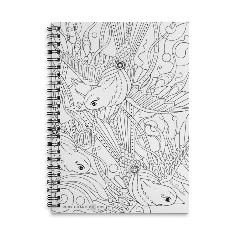 DIY Color Your Own Three Birds Spiral Notebook and Tote Bag in Lined Spiral Notebook by Ruby Charm Colors Artist Shop