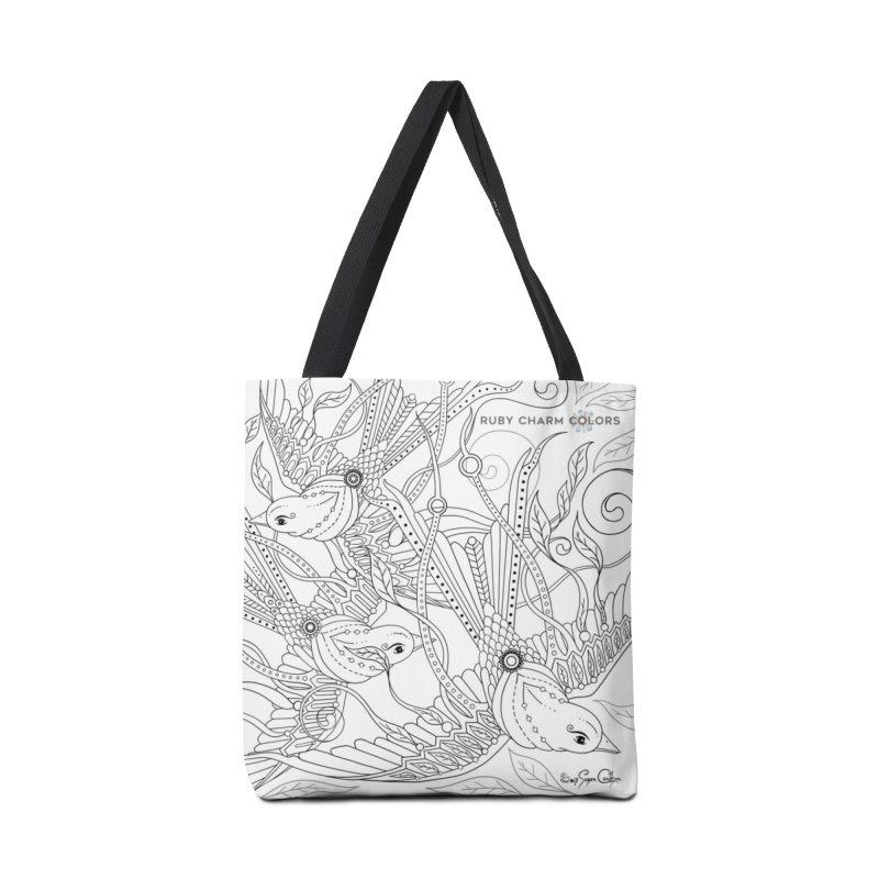 DIY Color Your Own Three Birds Spiral Notebook and Tote Bag in Tote Bag by Ruby Charm Colors Artist Shop