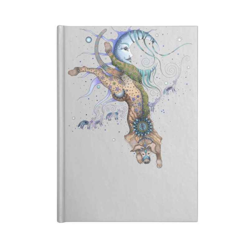 Bo Dog and the Moon Accessories Lined Journal Notebook by Ruby Charm Colors Artist Shop