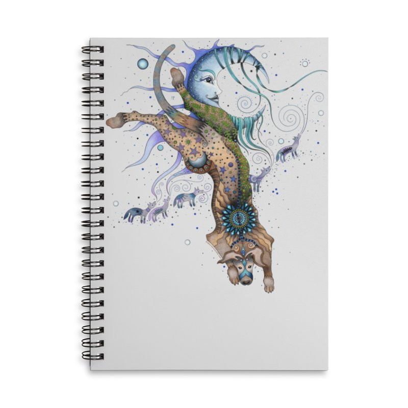 Bo Dog and the Moon in Lined Spiral Notebook by Ruby Charm Colors Artist Shop