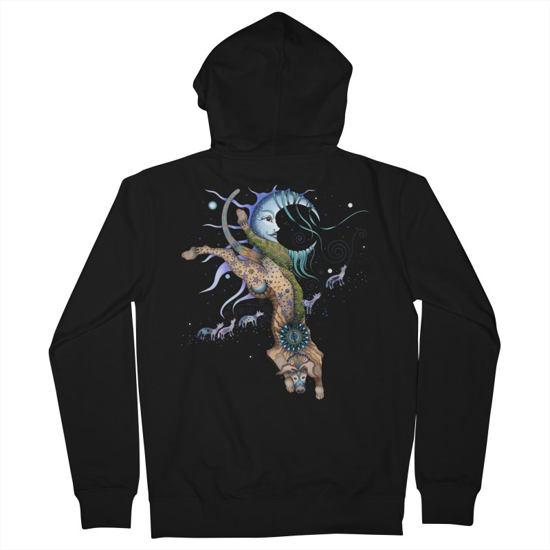 Bo Dog and the Moon in Women's French Terry Zip-Up Hoody Black by Ruby Charm Colors Artist Shop