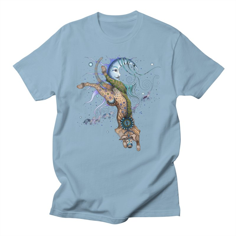 Bo Dog and the Moon in Men's Regular T-Shirt Light Blue by Ruby Charm Colors Artist Shop