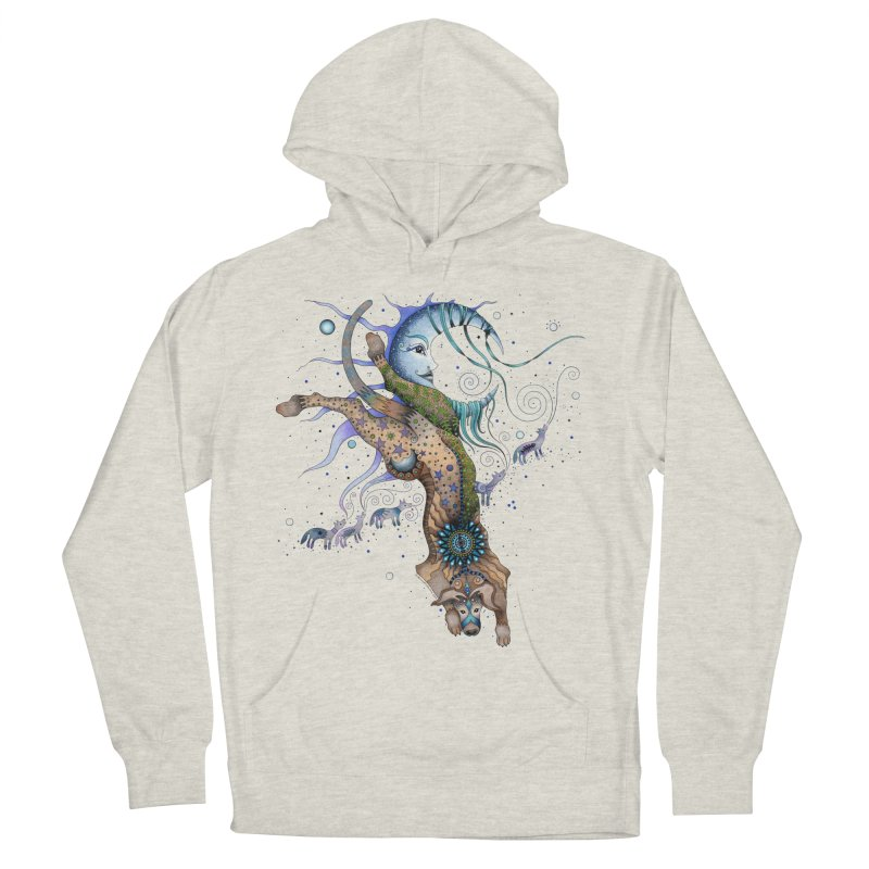 Bo Dog and the Moon Women's French Terry Pullover Hoody by Ruby Charm Colors Artist Shop