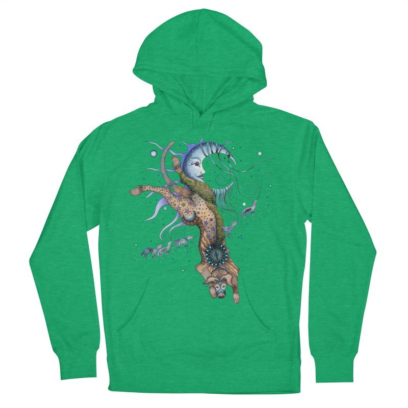 Bo Dog and the Moon Men's French Terry Pullover Hoody by Ruby Charm Colors Artist Shop