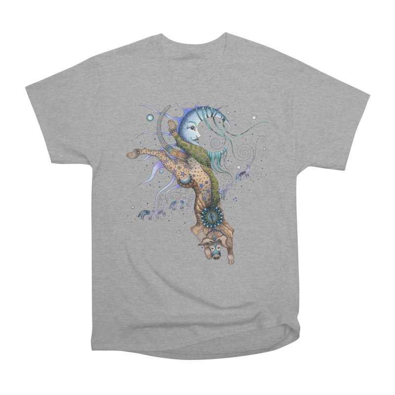 Bo Dog and the Moon Women's Heavyweight Unisex T-Shirt by Ruby Charm Colors Artist Shop