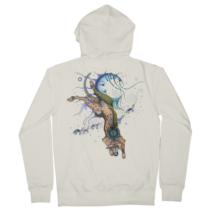 Bo Dog and the Moon Men's French Terry Zip-Up Hoody by Ruby Charm Colors Artist Shop