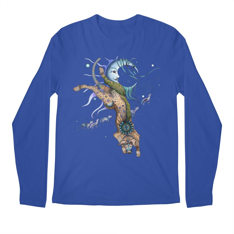 Bo Dog and the Moon Men's Regular Longsleeve T-Shirt by Ruby Charm Colors Artist Shop