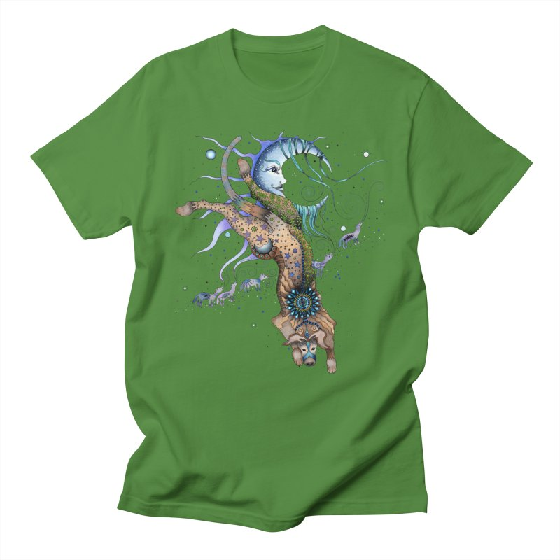 Bo Dog and the Moon Men's Regular T-Shirt by Ruby Charm Colors Artist Shop