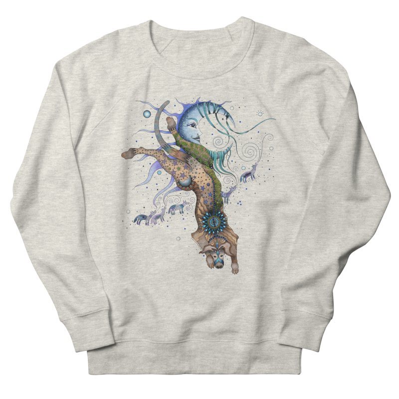 Bo Dog and the Moon Men's French Terry Sweatshirt by Ruby Charm Colors Artist Shop