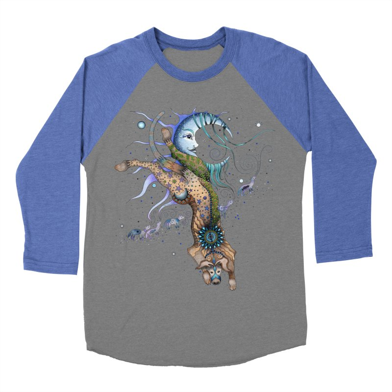 Bo Dog and the Moon Women's Baseball Triblend Longsleeve T-Shirt by Ruby Charm Colors Artist Shop