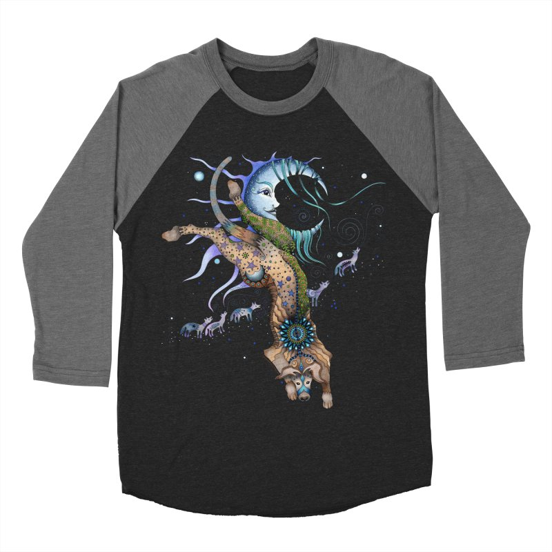 Bo Dog and the Moon Men's Baseball Triblend Longsleeve T-Shirt by Ruby Charm Colors Artist Shop