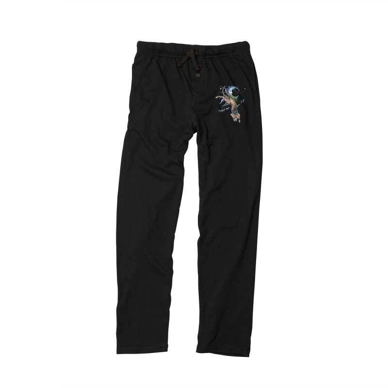 Bo Dog and the Moon in Women's Lounge Pants Black by Ruby Charm Colors Artist Shop