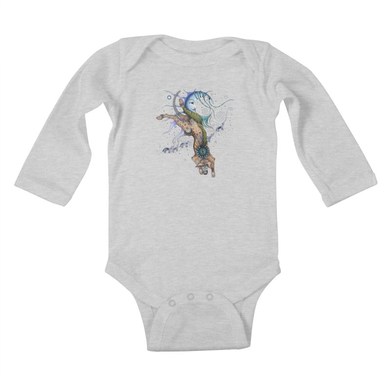 Bo Dog and the Moon Kids Baby Longsleeve Bodysuit by Ruby Charm Colors Artist Shop