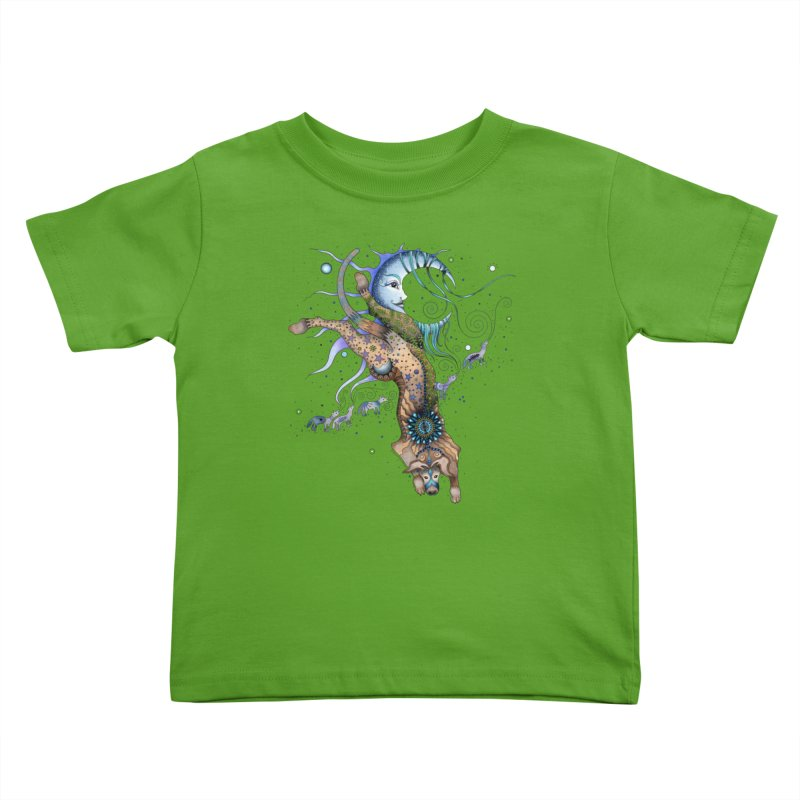 Bo Dog and the Moon Kids Toddler T-Shirt by Ruby Charm Colors Artist Shop