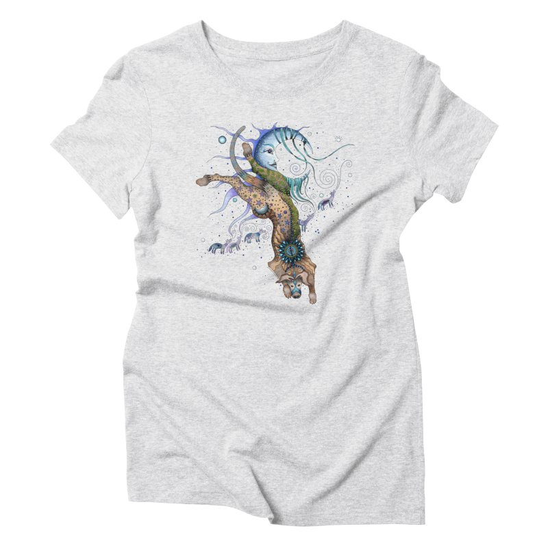 Bo Dog and the Moon Women's T-Shirt by Ruby Charm Colors Artist Shop
