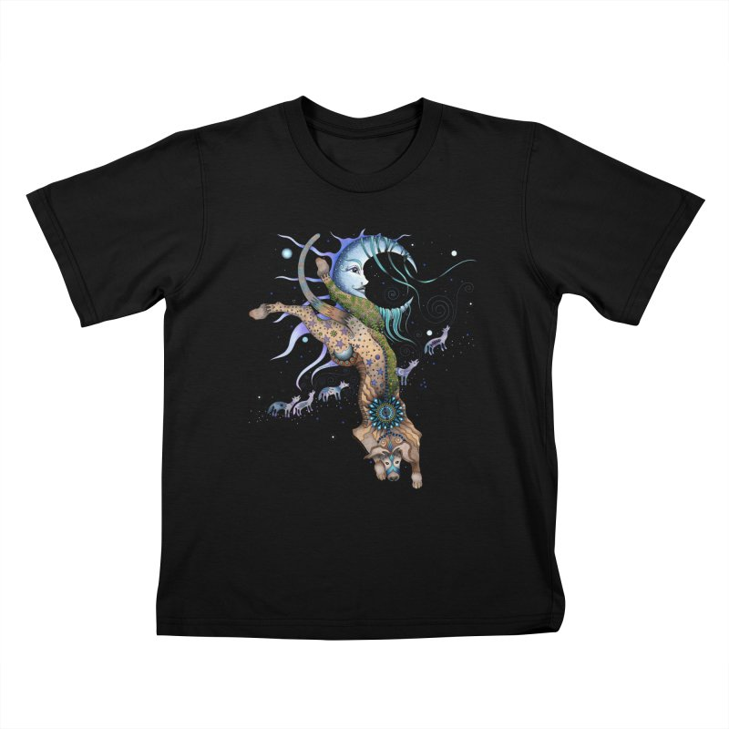 Bo Dog and the Moon Kids T-Shirt by Ruby Charm Colors Artist Shop