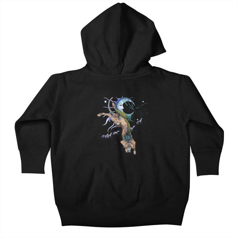 Bo Dog and the Moon Kids Baby Zip-Up Hoody by Ruby Charm Colors Artist Shop