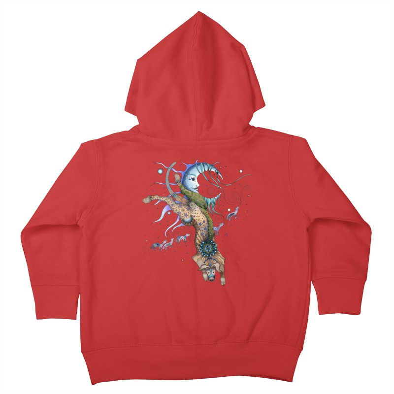 Bo Dog and the Moon Kids Toddler Zip-Up Hoody by Ruby Charm Colors Artist Shop