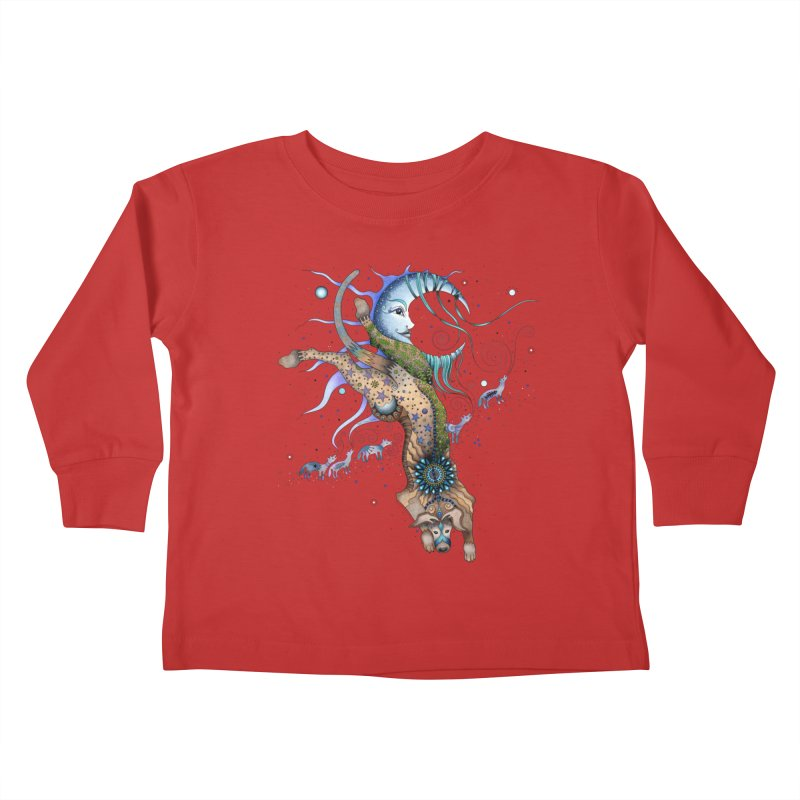 Bo Dog and the Moon Kids Toddler Longsleeve T-Shirt by Ruby Charm Colors Artist Shop