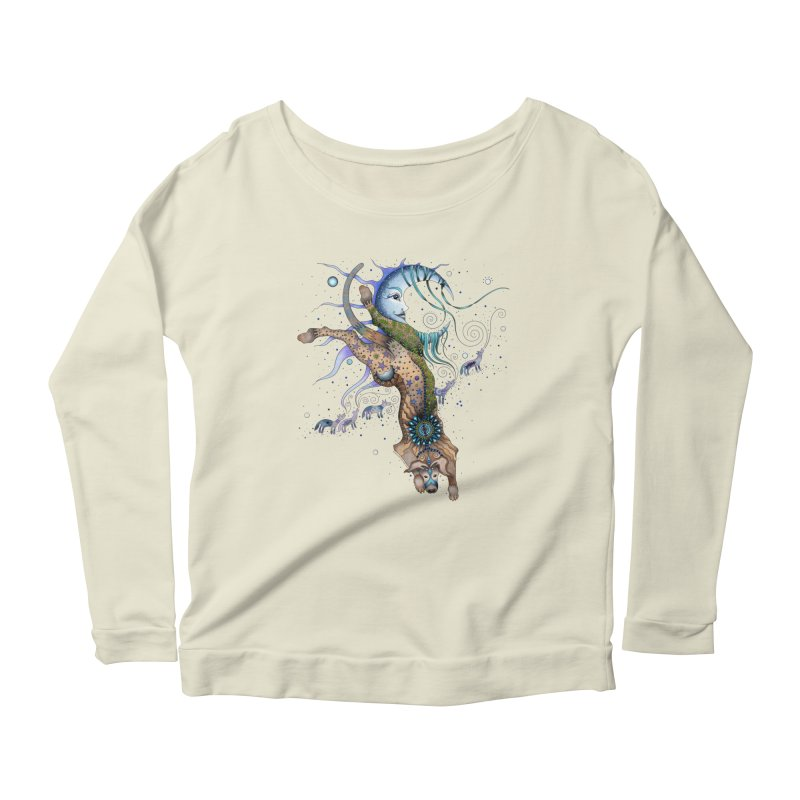 Bo Dog and the Moon in Women's Scoop Neck Longsleeve T-Shirt Natural by Ruby Charm Colors Artist Shop