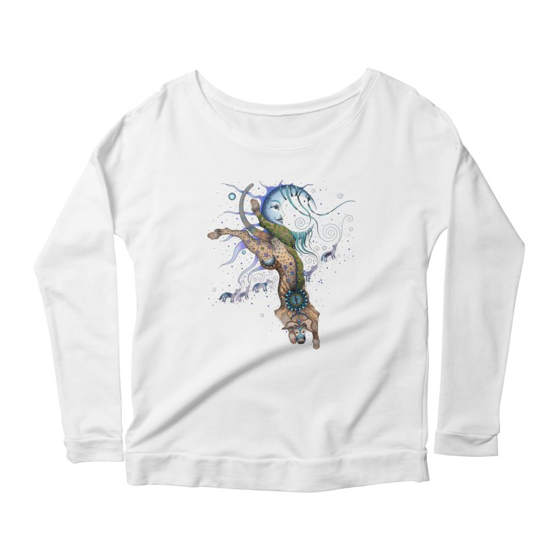Bo Dog and the Moon Women's Longsleeve T-Shirt by Ruby Charm Colors Artist Shop