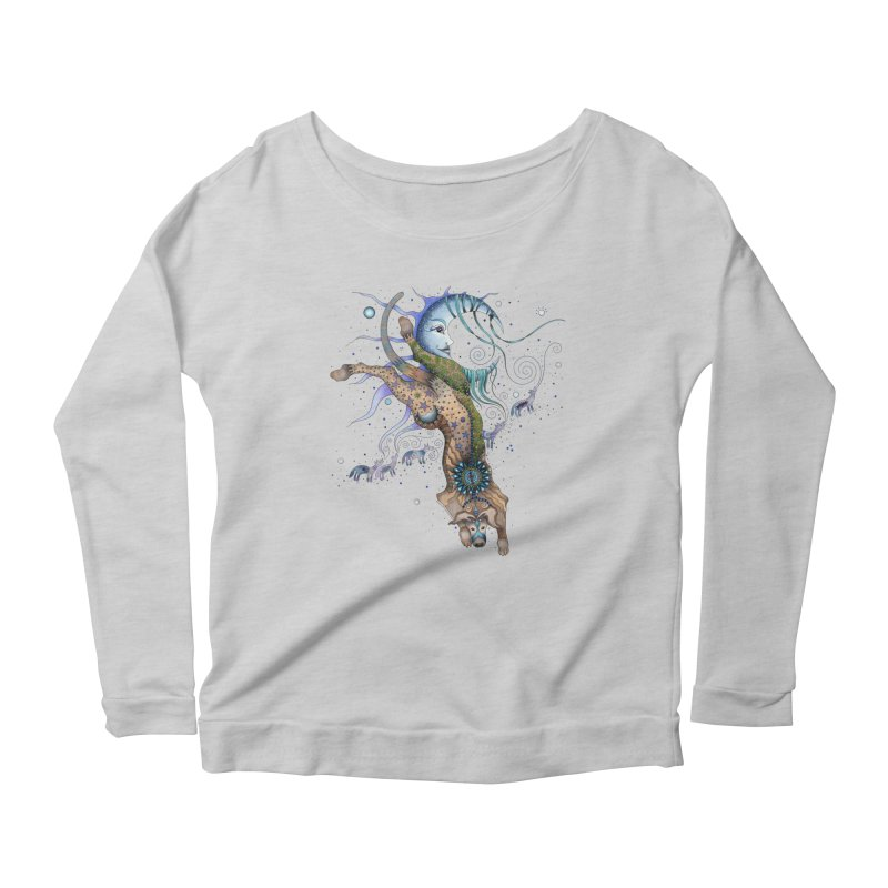 Bo Dog and the Moon Women's Scoop Neck Longsleeve T-Shirt by Ruby Charm Colors Artist Shop