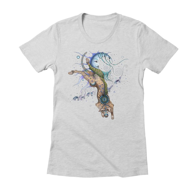 Bo Dog and the Moon Women's Fitted T-Shirt by Ruby Charm Colors Artist Shop