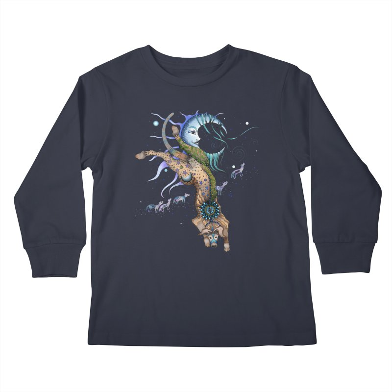 Bo Dog and the Moon Kids Longsleeve T-Shirt by Ruby Charm Colors Artist Shop