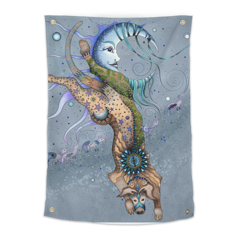 Bo Dog and the Moon in Tapestry by Ruby Charm Colors Artist Shop