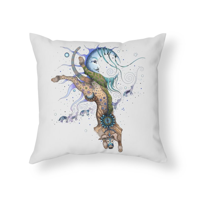 Bo Dog and the Moon Home Throw Pillow by Ruby Charm Colors Artist Shop