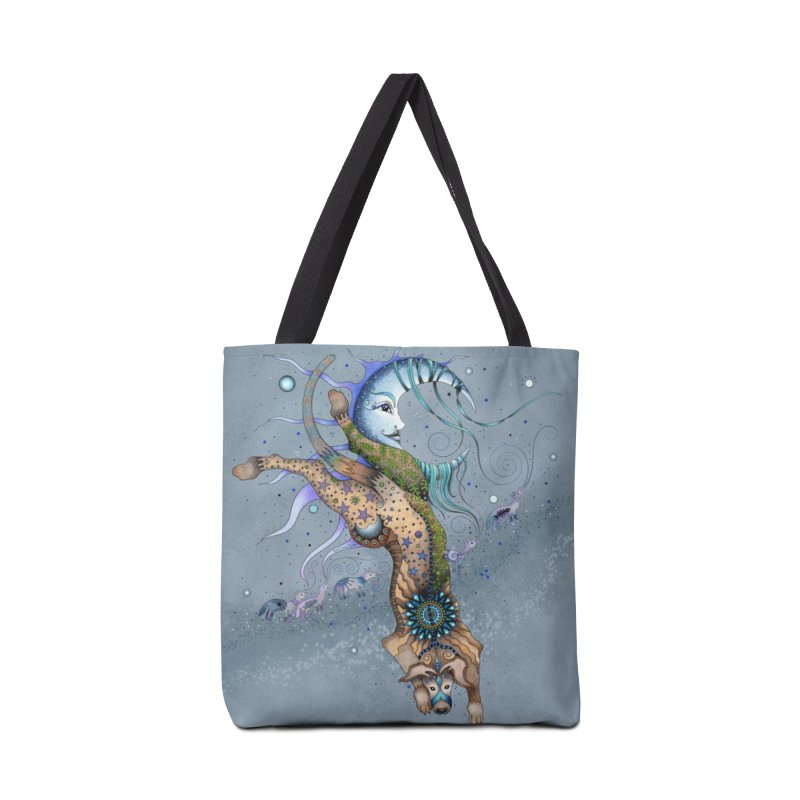 Bo Dog and the Moon in Tote Bag by Ruby Charm Colors Artist Shop