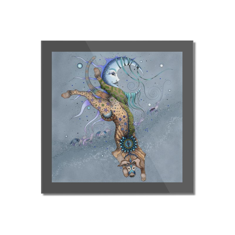 Bo Dog and the Moon Home Mounted Acrylic Print by Ruby Charm Colors Artist Shop