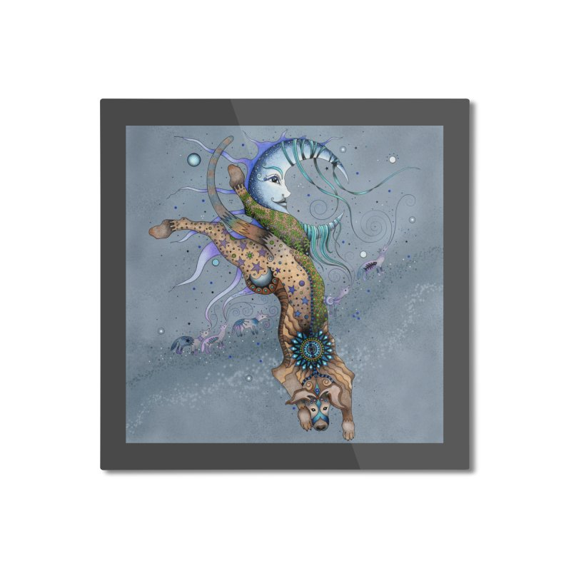 Bo Dog and the Moon Home Mounted Aluminum Print by Ruby Charm Colors Artist Shop