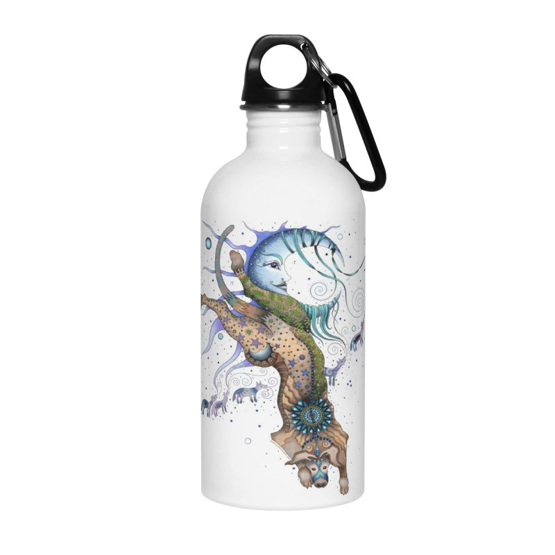 Bo Dog and the Moon in Water Bottle by Ruby Charm Colors Artist Shop