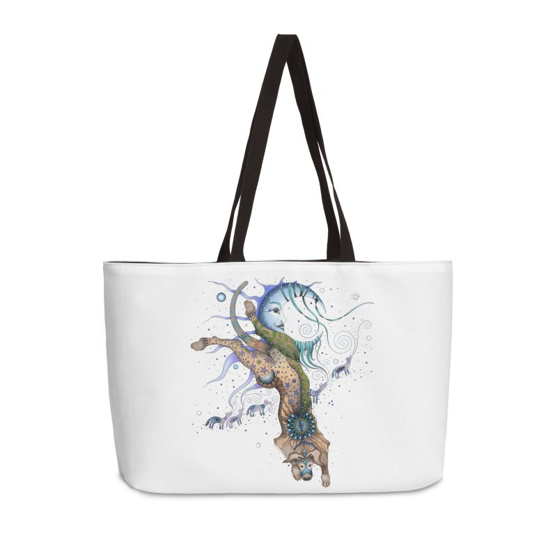 Bo Dog and the Moon in Weekender Bag by Ruby Charm Colors Artist Shop