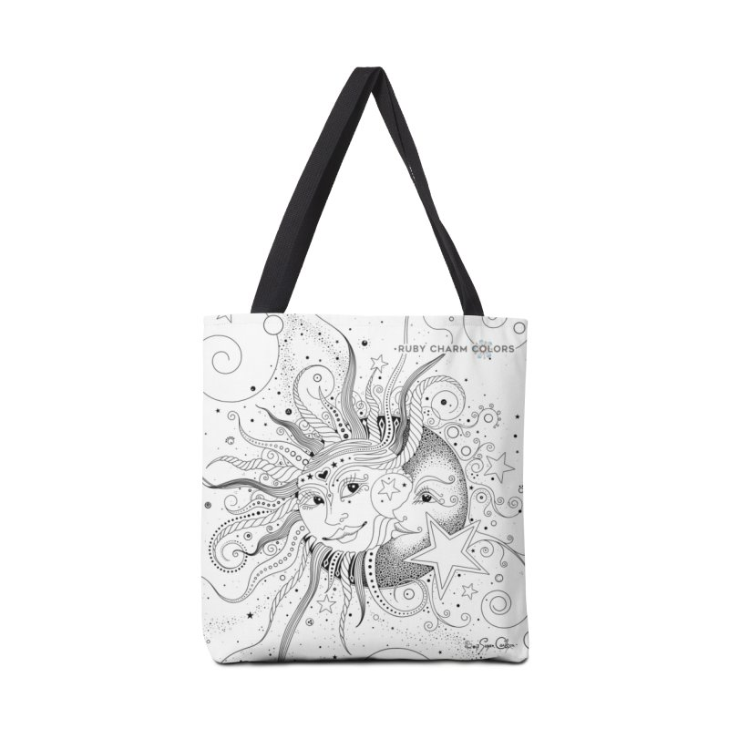 DIY Color Your Own Sun and Moon Spiral Notebook and Tote Bag in Tote Bag by Ruby Charm Colors Artist Shop