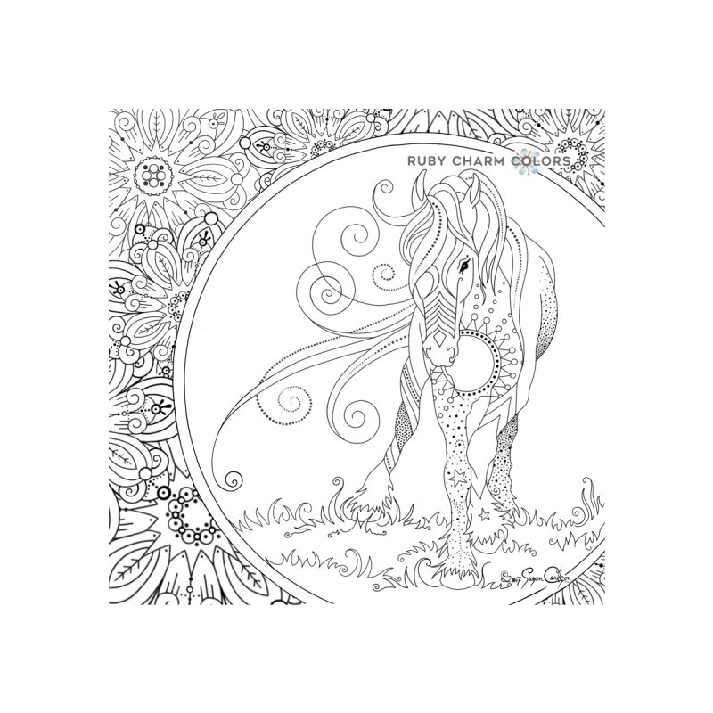 DIY Color Your Own Horse Spiral Notebook and Tote Bag Accessories Bag by Ruby Charm Colors Artist Shop