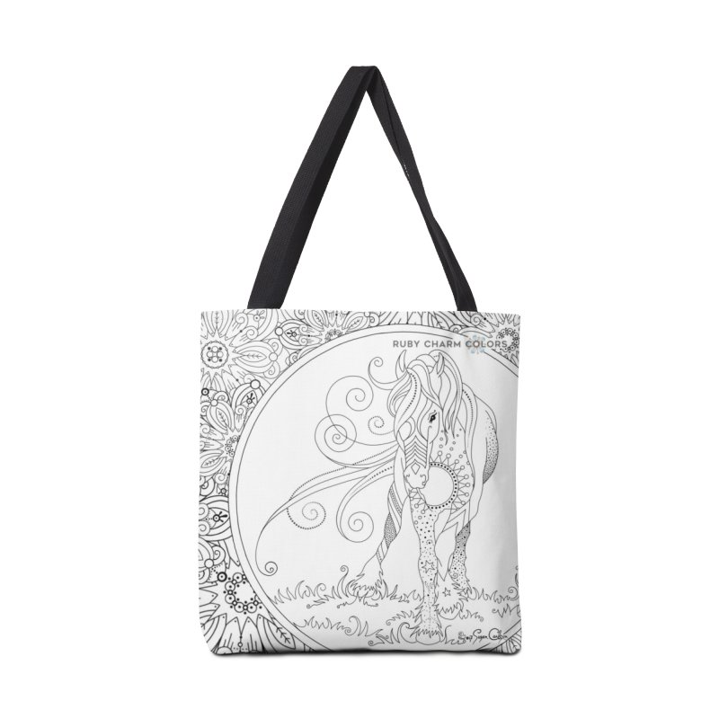 DIY Color Your Own Horse Spiral Notebook and Tote Bag in Tote Bag by Ruby Charm Colors Artist Shop