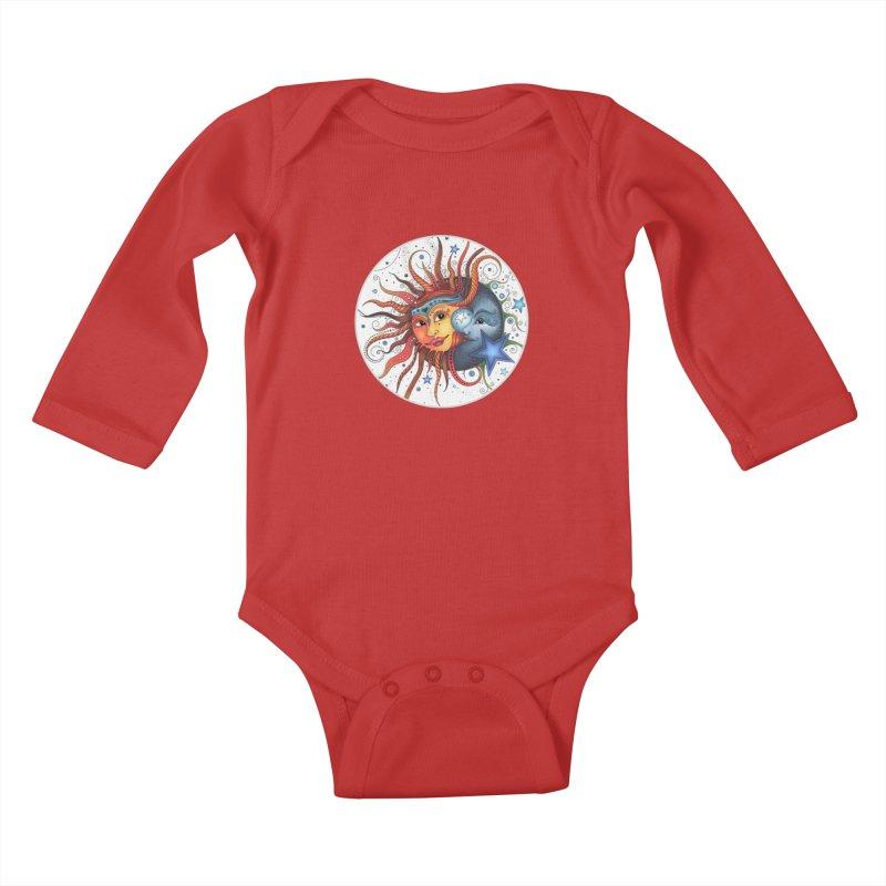 Ruby Charm's Sun & Moon Kids Baby Longsleeve Bodysuit by Ruby Charm Colors Artist Shop
