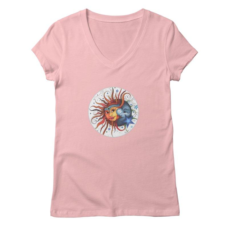 Ruby Charm's Sun & Moon Women's V-Neck by Ruby Charm Colors Artist Shop