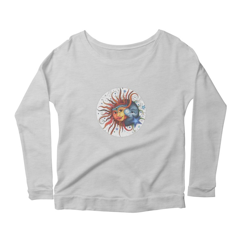 Ruby Charm's Sun & Moon Women's Scoop Neck Longsleeve T-Shirt by Ruby Charm Colors Artist Shop