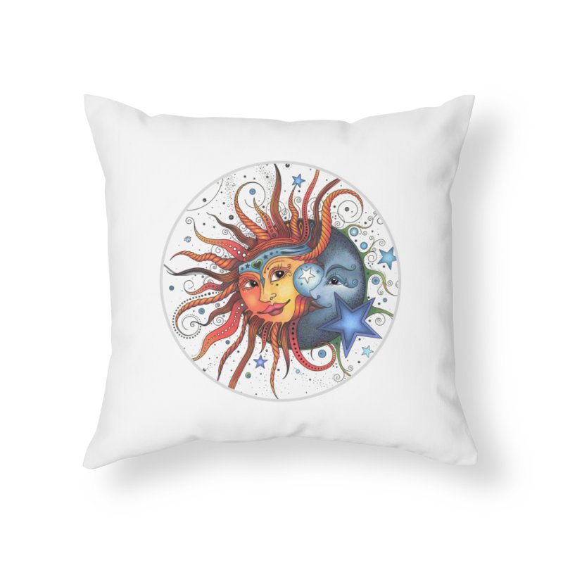 Ruby Charm's Sun & Moon in Throw Pillow by Ruby Charm Colors Artist Shop