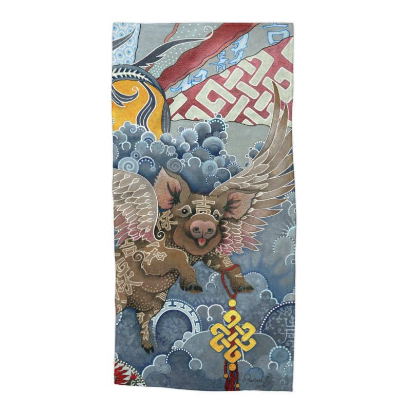 Year of the Pig Accessories Beach Towel by Ruby Charm Colors Artist Shop