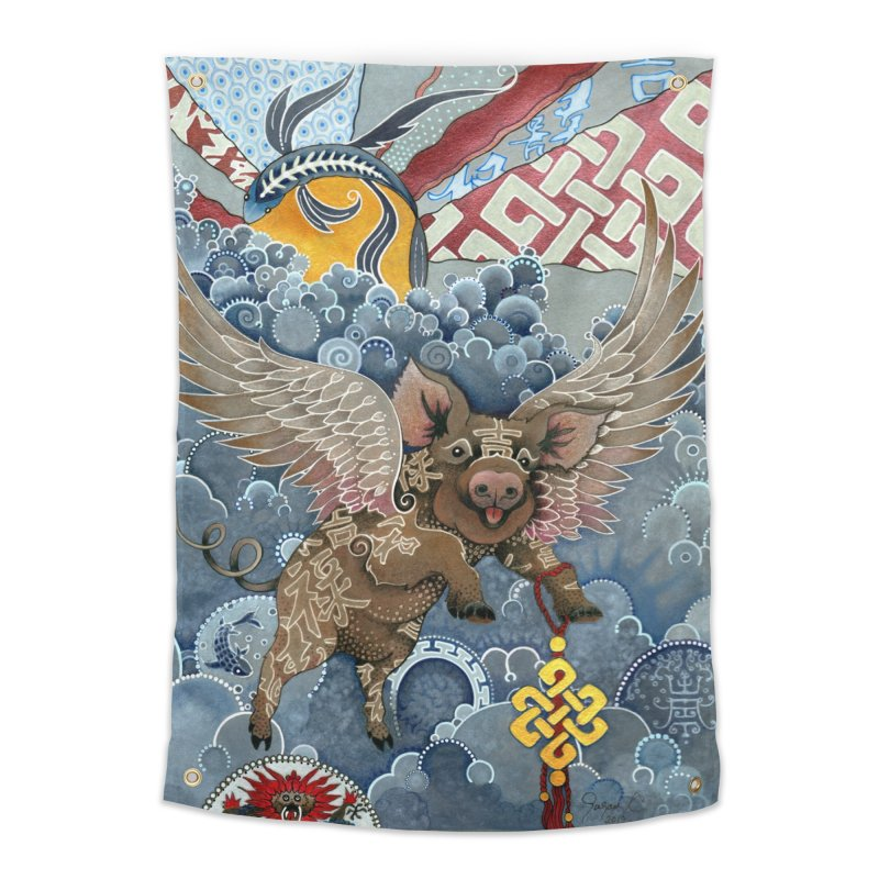 Year of the Pig Home Tapestry by Ruby Charm Colors Artist Shop