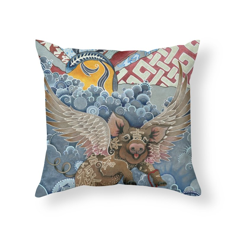 Year of the Pig Home Throw Pillow by Ruby Charm Colors Artist Shop